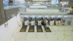 Airport check-in counter time lapse abstract Stock Footage