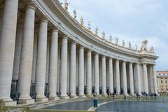 Famous Peter s Square at Vatican in Rome - important place for catholic pilgrims Stock Photos