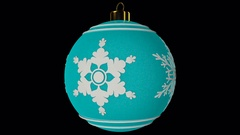 Cyan Spinning Christmas Ball With Snowflakes Stock Footage
