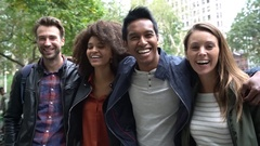 Portrait of multi-ethnic friends in New york Stock Footage