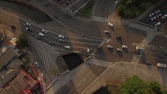 SAO PAULO TRAFFIC DRONE ABOVE DAYTIME SUNSET Stock Footage