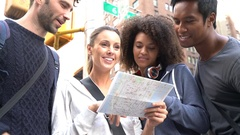 Group of friends visiting New york city Stock Footage
