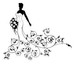 Wedding Bouquet Abstract Bride Silhouette  Stock Illustration