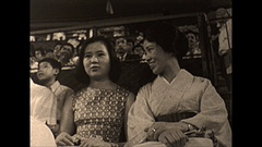 Vintage 16mm film, 1964, Tokyo ball game people Stock Footage