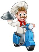 Cartoon Delivery Moped Scooter Chef Stock Illustration