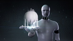 Robot cyborg open palm, Sphere gas storage in petrochemical plant, Oil tank. Stock Footage