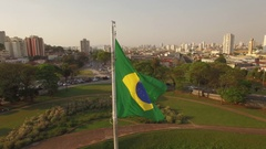 BRAZILIAN FLAG DAY TIME SUN FLARES Camera Wrap Stock Footage