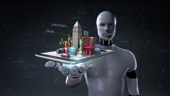Robot open palm, city travel application, Prepare to travel tour on mobile, Stock Footage