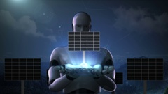 Robot cyborg gather two palms, Solar panel. eco energy(included alpha) Stock Footage