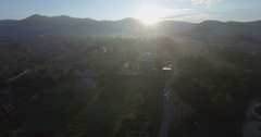 Rural sunrise with long shadows in Western Ukraine Stock Footage