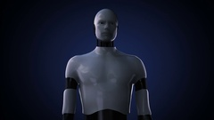 Robot cyborg open two palms, Space Sciences Laboratory, planet, astronomy Stock Footage
