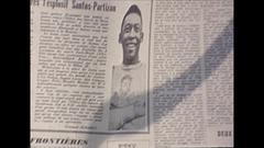 Vintage 16mm film, 1964, France newspaper account featuring Pele football Stock Footage