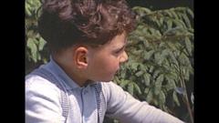 Vintage 16mm film, 1964, France toddler on trike #2 Stock Footage