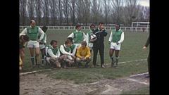 Vintage 16mm film, 1964, France soccer team poses for team photo Stock Footage