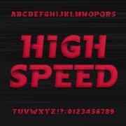High speed alphabet font. Oblique dynamic letters. Stock Illustration
