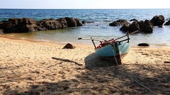 The old fishing boat on the beach. Vietnam Stock Footage