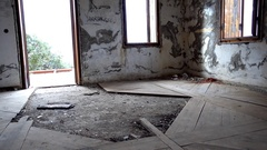 Room of abandoned house Stock Footage