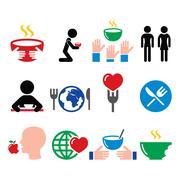 Hunger, starvation, poverty icons set Stock Illustration