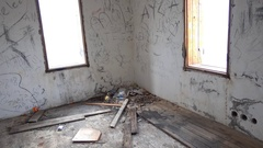 Corner of room in forsaken house Stock Footage