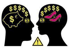 Marital Money Conflict Stock Illustration