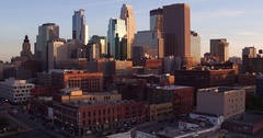 Downtown Fall Sunset from North East Minneapolis Slow Pan. Stock Footage