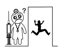 Man in fear of  Doctor Stock Illustration