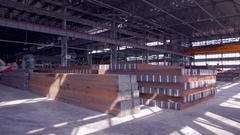 Warehouse of steel blocks Stock Footage