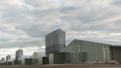Chicken farm with Silos time-lapse Stock Footage