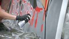 MOSCOW, RUSSIA, JUNE 2016: Street Artist Painting A Graffiti On The Wall Stock Footage