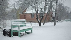 First snow in the village. Stock Footage