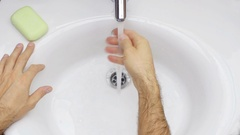 Washing hands with soap. Stock Footage