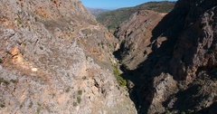 Deepg gorge in mountains at crete Stock Footage