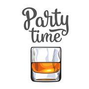 Scotch whiskey, rum, brandy shot glass, invitation, banner template Piirros