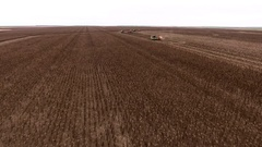 Aerial shot of harvesting. Harvester unloading sunflower seeds in truck. 4K Stock Footage
