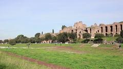 Rome, Circo Massimo arena ruins Stock Footage