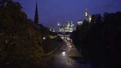 Frankfurt Cityscape by night, nature and urban mix Stock Footage