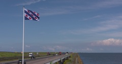Flag of the Dutch province of Friesland, the Frysian Flag Stock Footage