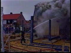 Big fire Netherlands shop 1996 Stock Footage