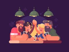 Friends relaxing at bar Stock Illustration