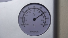 Temperature dial rising to 130 degrees Stock Footage