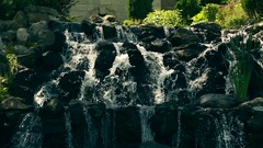 Small Water Cascade In The City Park Arkistovideo