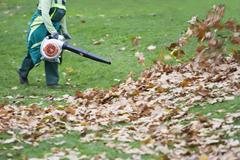 Worker in the park in autumn collects leaves with leaf blower  Stock Photos