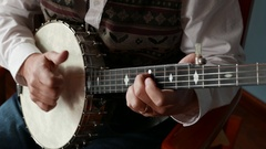 Clawhammer Banjo Style Picking Close up 4k Arkistovideo