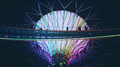 Gardens by the bay light show in Singapore, one of the tourist attraction. Stock Footage