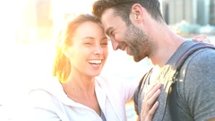 In love couple enjoying sunset on Brooklyn heights, NYC Stock Footage