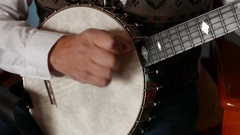 Clawhammer Banjo Style Picking Close up 4k Stock Footage