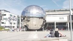 Millenium square bristol pan sunny people slow mo Stock Footage