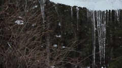 Icicles Melting and Dripping Rapidly Stock Footage