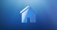 Home House Blue 3d Icon Stock Footage
