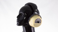 Mannequin music headphones retro vintage disco party head Stock Footage